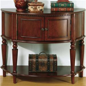 Brown Entry Table with Curved Front & Inlay Shelf
