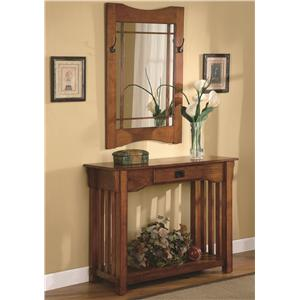 Mission Style Accent Table & Framed Mirror Set