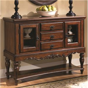 Traditional Three Drawer Server with Glass Cabinets