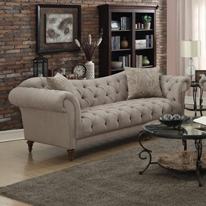 Sofa with Button Tufting and Rolled Arms