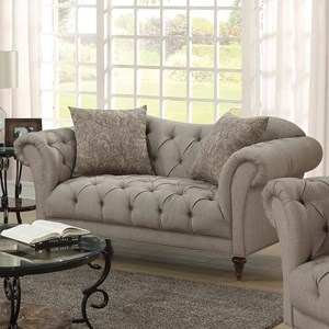 Upholstered Loveseat with Button Tufting