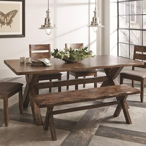 Rustic Dining Table with Wavy Edge