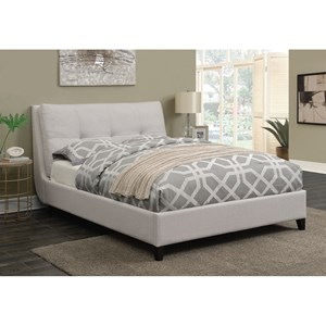Upholstered Queen Platform Bed With Button Tufted Pillow Top