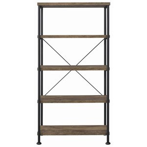 Contemporary Open Bookcase with Metal Frame