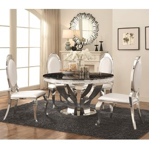 Faux Marble and Chrome Stainless Steel 5 Piece Dining Table Set