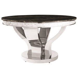 Faux Marble Dining Table with Chrome Stainless Steel Base
