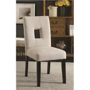 Upholstered Side Chair with Square Cutout in Seat Back