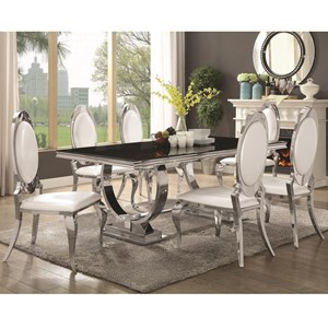 7 Piece Dining Set with Stainless Steel Table