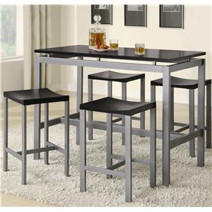 Counter Height Contemporary Silver Metal Table with Black Top and 4 Stools