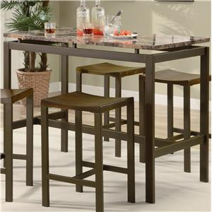 Counter Height Contemporary Brown Metal Table with Marble Look Top and 4 Stools