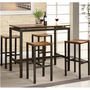 Counter Height Contemporary Black Metal Table with Warm Oak Top and 4 Stools