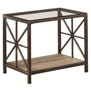 Rustic End Table with Wood Shelf and Glass Top