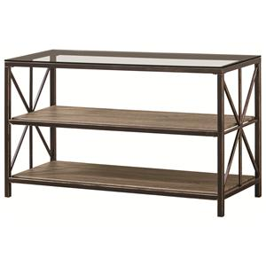 Rustic Sofa Table with Wood Shelves and Glass Top