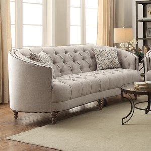 C-Shaped Sofa with Button Tufting and Nailhead Trim