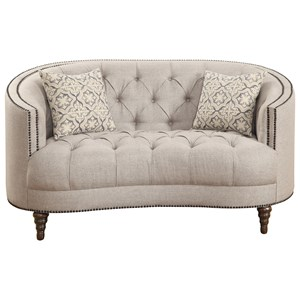 C-Shaped Loveseat with Button Tufting and Nailhead Trim