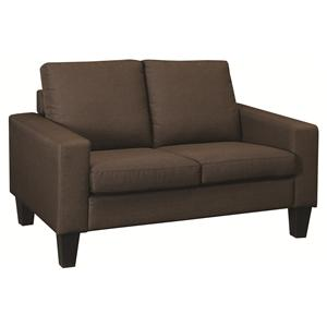 Love Seat with Track Arms and Tapered Wood Legs