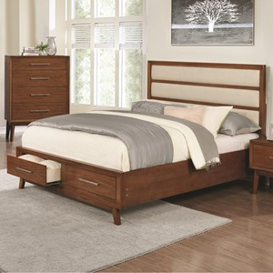 Upholstered Panel Queen Bed with 2 Footboard Drawers