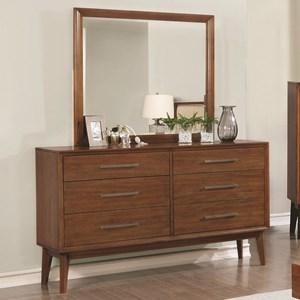 Mid-Century Modern 6 Drawer Dresser and Mirror Combo