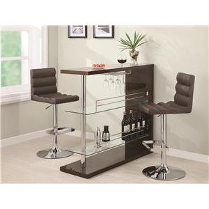 Coaster Bar Units and Bar Tables Contemporary Bar Set with Stools