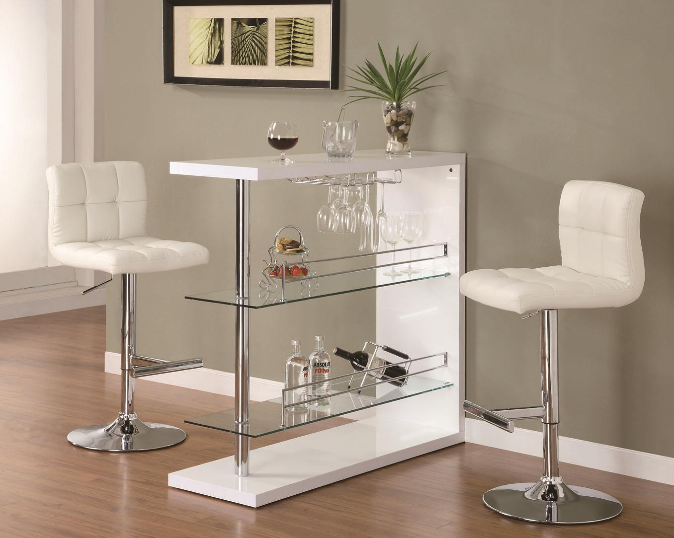 Bar Units and Bar Tables Contemporary Bar Set with Stools by Coaster at Lapeer Furniture & Mattress Center