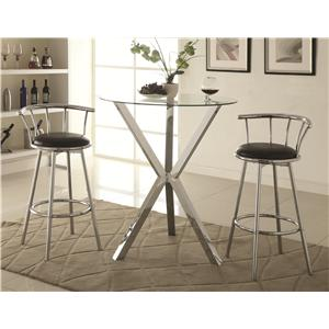3 Piece Pub Table Set with Swivel Bar Stools