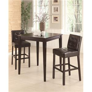 Square Pub Table with Two Bar Stools