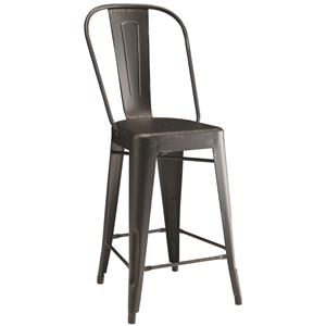 Lahner Metal Counter Height Chair in Black