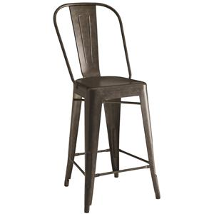 Lahner Metal Counter Height Chair in Antique Brown