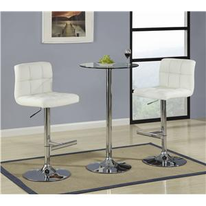 3 Piece Bar Table with Tempered Glass Top Set