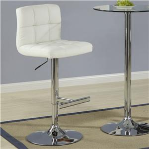 Contemporary Adjustable Cream Stool with Padded Straight Line Back