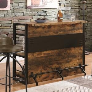 Rustic Bar Unit with Stemware Rack