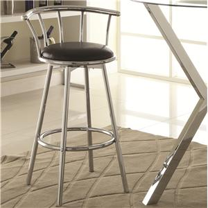 Chrome-Colored Swivel Bar Stool with Black Upholstered Seat