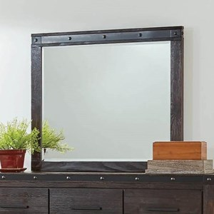 Rustic Mirror with Metal Accent Trim