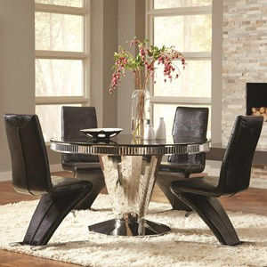 5 Piece Round Dining Table and Black Leatherette Chair Set
