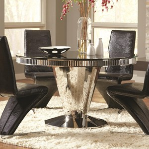 Round Dining Table with Tempered Black Glass Top