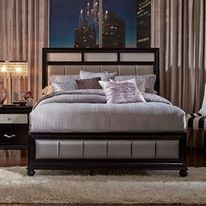 King Bed with Metallic Leatherette Upholstery