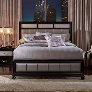 Queen Bed with Metallic Leatherette Upholstery