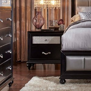 2 Drawer Nightstand with a Metallic Acrylic Drawer Front