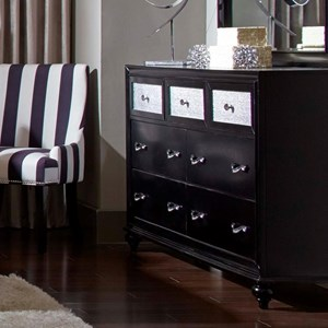 7 Drawer Dresser with Metallic Acrylic Drawer Fronts