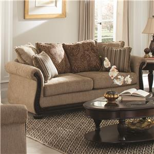 Traditional Sofa with Rolled Arms and Wood Trim