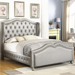 Full Upholstered Bed with Tufted Wing Headboard