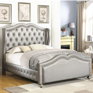 Cal King Upholstered Bed with Tufted Wing Headboard
