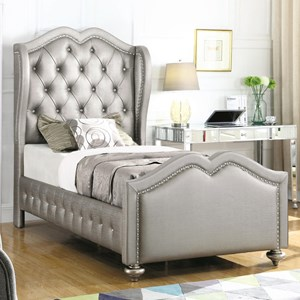 Twin Upholstered Bed with Tufted Wing Headboard