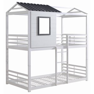 White/Gray House Twin/Twin Bunk Bed