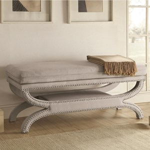 Fully Upholstered Light Grey Bench with Nailhead Trim