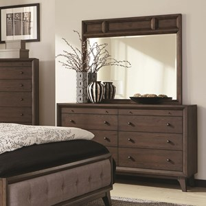 8 Drawer Dresser and Mirror with Wood Frame