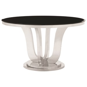 Glam Round Dining Table with Black Tempered Glass Top