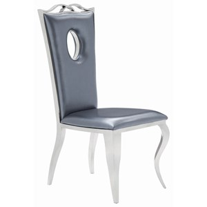 Glam Dining Chair with Faux Leather Seat