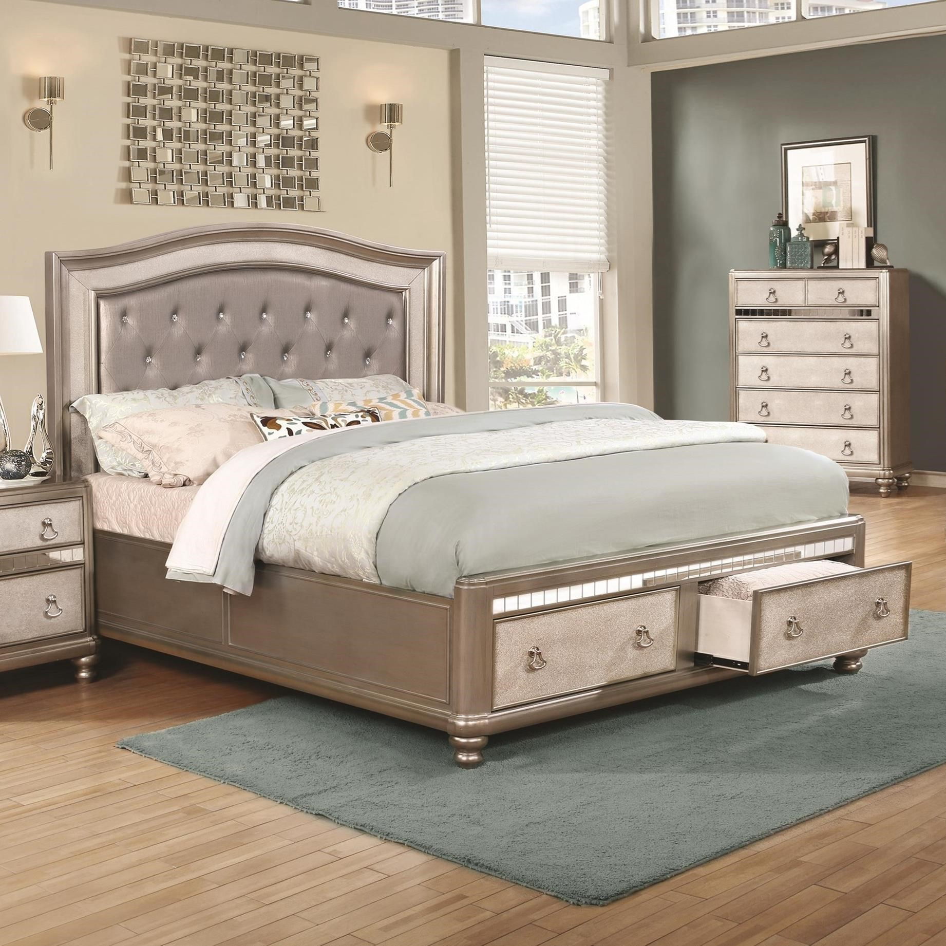 coaster bling game glam upholstered king bed with
