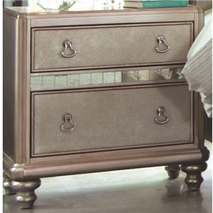 Nightstand with 2 Drawers and Stacked Bun Feet